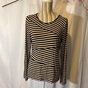 Vince Camuto Black & cream striped tunic SZ L